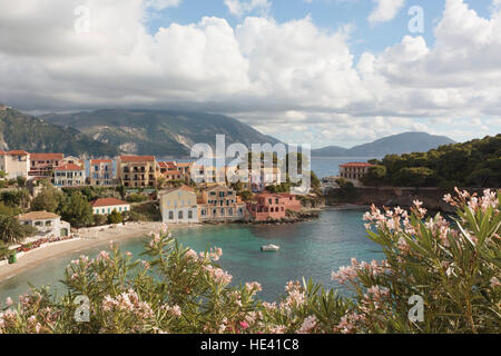 View of the village of Asos on the Greek island of Kefalonia. - Stock Photo