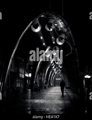 night, street, lights, person, single, solo, shadows, installation, fancy, path, figure, artsy, artistic, b&w, mono, - Stock Photo