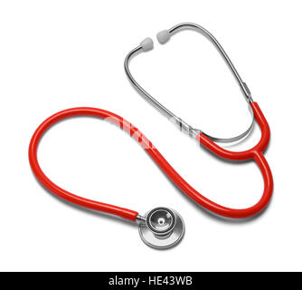 Red Curled Stethoscope Isolated on White Background. - Stock Photo