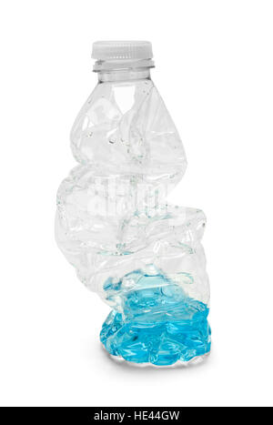 Half Empty Crushed Water Bottle Isolated on White Background. - Stock Photo