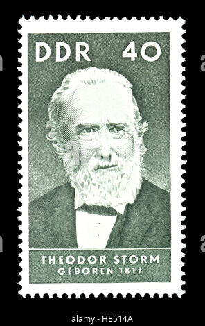 East German postage stamp (1967) : Theodor Storm (Hans Theodor Woldsen Storm: 1817 – 1888) German writer. 19th-century - Stock Photo
