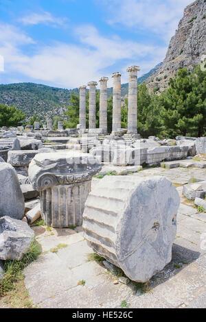 Athena Temple, Priene, Turkey, Asia Minor, Asia - Stock Photo