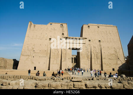 First pylon with main entrance, Temple of Horus, Edfu, Luxor, Nile Valley, Egypt, Africa - Stock Photo