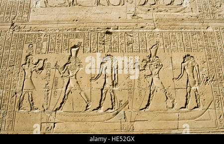 Different hieroglyphs depicting the victory of Horus over his uncle Seth, Temple of Horus, Edfu, Luxor, Nile Valley, - Stock Photo