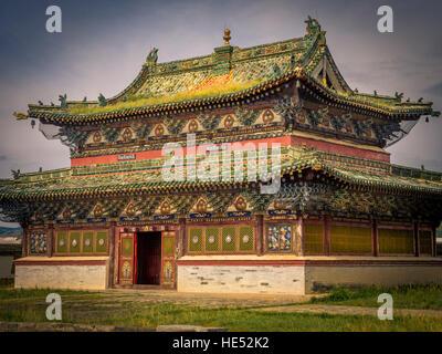 Temple at Erdene Zuu monastery, Karakorum, Kharkhorin, Övörkhangai Province, Mongolia - Stock Photo