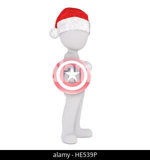 2a2ac83333e28 ... Full body 3d toon in Santa hat holding superhero target on white - Stock  Photo