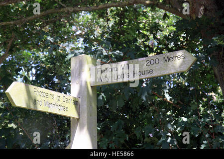 Sign post showing the distance to Flatford Mill and Willy Lott's house, the scene for John Constables painting the - Stock Photo