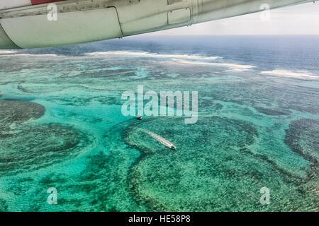 Aerial View of the reef near Lord Howe Island, Tasman Sea, New South Wales, NSW, Australia - Stock Photo