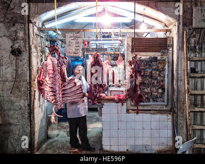 busy souk market shopping street in old town of aleppo syria - Stock Photo