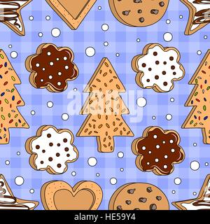 Seamless pattern with home made cookies on blue background. Vector illustration. - Stock Photo