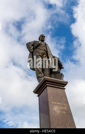 Statue of Jean-Baptiste Trystram 1821 - 1906 on the 2523 Rond-Point Guillain, 59140 Dunkirk, France, - Stock Photo