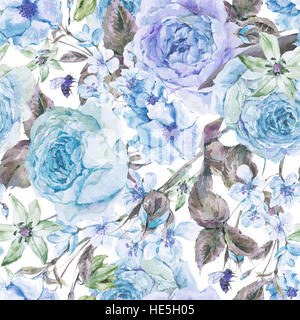 Watercolor spring seamless border with english roses - Stock Photo