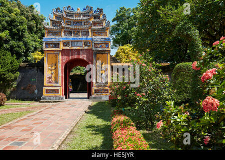 Entrance gate to the Hung To Mieu Temple. Imperial City (The Citadel), Hue, Vietnam. - Stock Photo