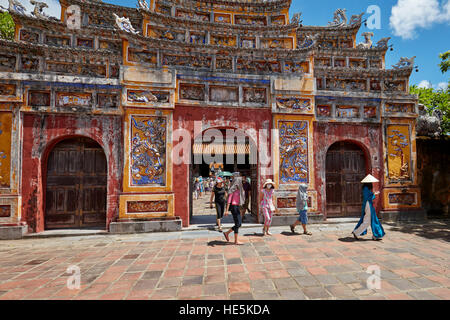 Entrance gate to The To Mieu Temple Compound. Imperial City (The Citadel), Hue, Vietnam. - Stock Photo