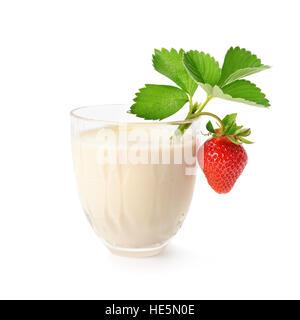 milkshake and strawberry isolated on white background - Stock Photo