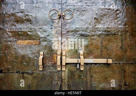 Closed doors of the Royal Crypt (Huyen Cung) at the Tomb of Tu Duc. Hue, Vietnam. - Stock Photo