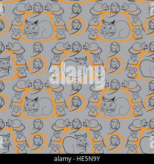 Cat and Mice Seamless Pattern on Gray - Stock Photo