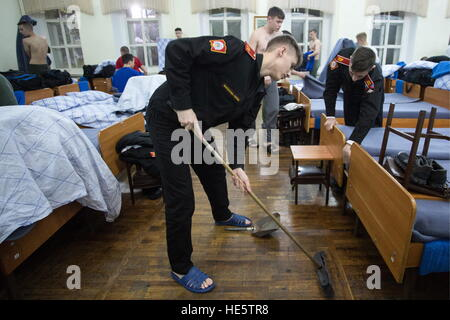 Omsk, Russia. 16th Dec, 2016. Cadets of the Omsk Cadet Corps do the cleaning at the barracks. © Dmitry Feoktistov/TASS/Alamy - Stock Photo