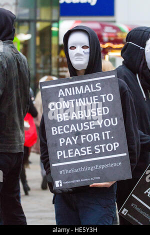 Vegan Protest, Piccadilly, Manchester, UK: 17th Dec 2016.  Masked Animal rights group 'The Earthlings Experience' - Stock Photo