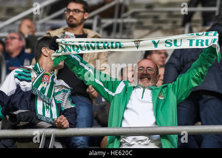 Oviedo, Asturias, Spain. 17th December, 2016. Cordoba fan during the Liga 123 match between Real Oviedo v Cordoba - Stock Photo