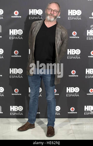 Madrid, Spain. 15th Dec, 2016. Photocall with Liam Cunningham at HBO Espana presentation at Urso Hotel in Madrid. - Stock Photo