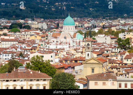 travel to Italy - view of Florence city with Great Synagogue (Tempio Maggiore) from Piazzale Michelangelo in autumn - Stock Photo
