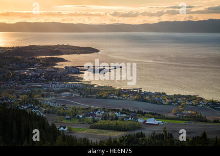 Distant view on shores of Trondheimsfjorden in Ranheim, Norway. - Stock Photo