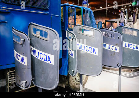 Polish Militia riot shields in the European Solidarity Centre, Gdansk, used during the introduction of martial law - Stock Photo