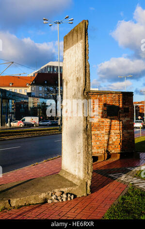 Piece of the Berlin Wall on display in Gdansk, beside the headquarters of Solidarity. - Stock Photo
