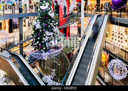 escalators and christmas decorations in the shopping center city stock photo royalty free. Black Bedroom Furniture Sets. Home Design Ideas