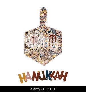 Cute Hanukkah greeting card, invitation - Stock Photo