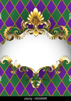 Festive Mardi Gras banner decorated with a gold frame and gold Fleur de Lis on a background of green and purple - Stock Photo