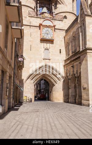La Grosse Cloche in the city of Bordeaux, France. - Stock Photo