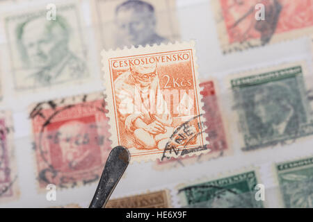An old  Czechoslovakian   postage stamp. - Stock Photo