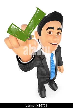 3d business people illustration. Businessman drawing a green tick. Isolated white background. - Stock Photo