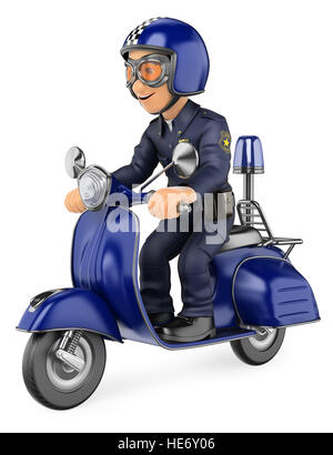 3d security forces people illustration. Policeman riding a scooter motorcycle. Isolated white background. - Stock Photo