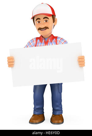 3d working people illustration. Handyman worker standing with a blank poster. Isolated white background. - Stock Photo