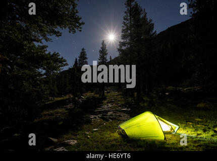 Camping in Kings Canyon National Park, California, United States of America, North America - Stock Photo