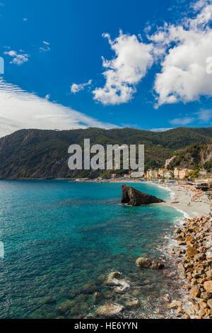 View at the beach in Monterosso al mare at Cinque Terre, Italy - Stock Photo