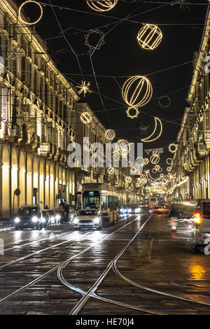 Via Po at Christmas time in Turin, Italy - Stock Photo