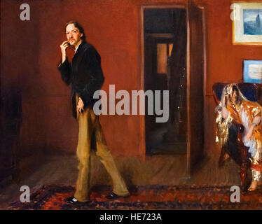 Robert Louis Stevenson and His Wife by John Singer Sargent, oil on canvas, 1885. - Stock Photo
