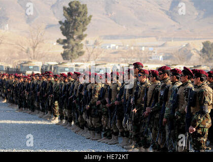 CAMP MOREHEAD, Afghanistan -- Afghan commandos stand in formation during the graduation of the 7th Commando Kandak - Stock Photo