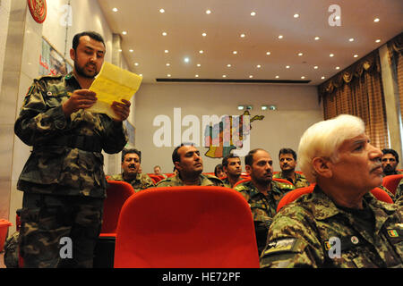 Kabul -An Afghan National Army medical graduate argues his selectio of his new assignment through a lottery drawing - Stock Photo