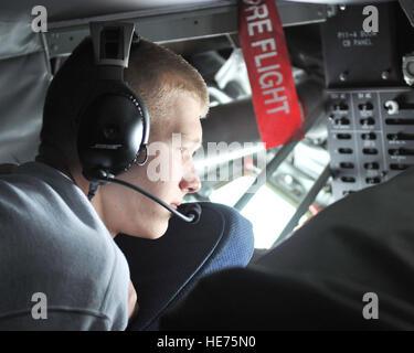 Air Force Junior Reserve Officer Training Corps cadet Pavel Karamshin, son of Master Sgt. Steven Vanderclute, 488th - Stock Photo