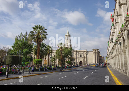 Arequipa, Peru - January 2, 2014:  Plaza de Armas square with Basilica Cathedral of Arequipa, Arequipa city, Peru - Stock Photo