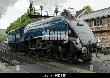A4 Pacific loco #60007 Sir Nigel Gresley standing at Grosmont station on the North York Moors railway, Yorkshire, - Stock Photo