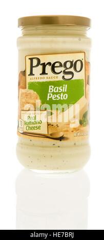 Winneconne, WI - 13 December 2016:  Jar of Prego basil pesto alfredo sauce on an isolated background. - Stock Photo
