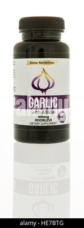 Winneconne, WI - 17 December 2016:  Bottle of Garlic dietary supplement made by Zhou nutrition on an isolated background. - Stock Photo