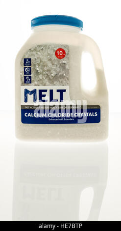 Winneconne, WI - 17 December 2016:  Container of Melt ice melt salt on an isolated background. - Stock Photo