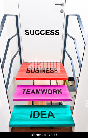 Design stairs and bridge in a modern office, Steps for success - Stock Photo